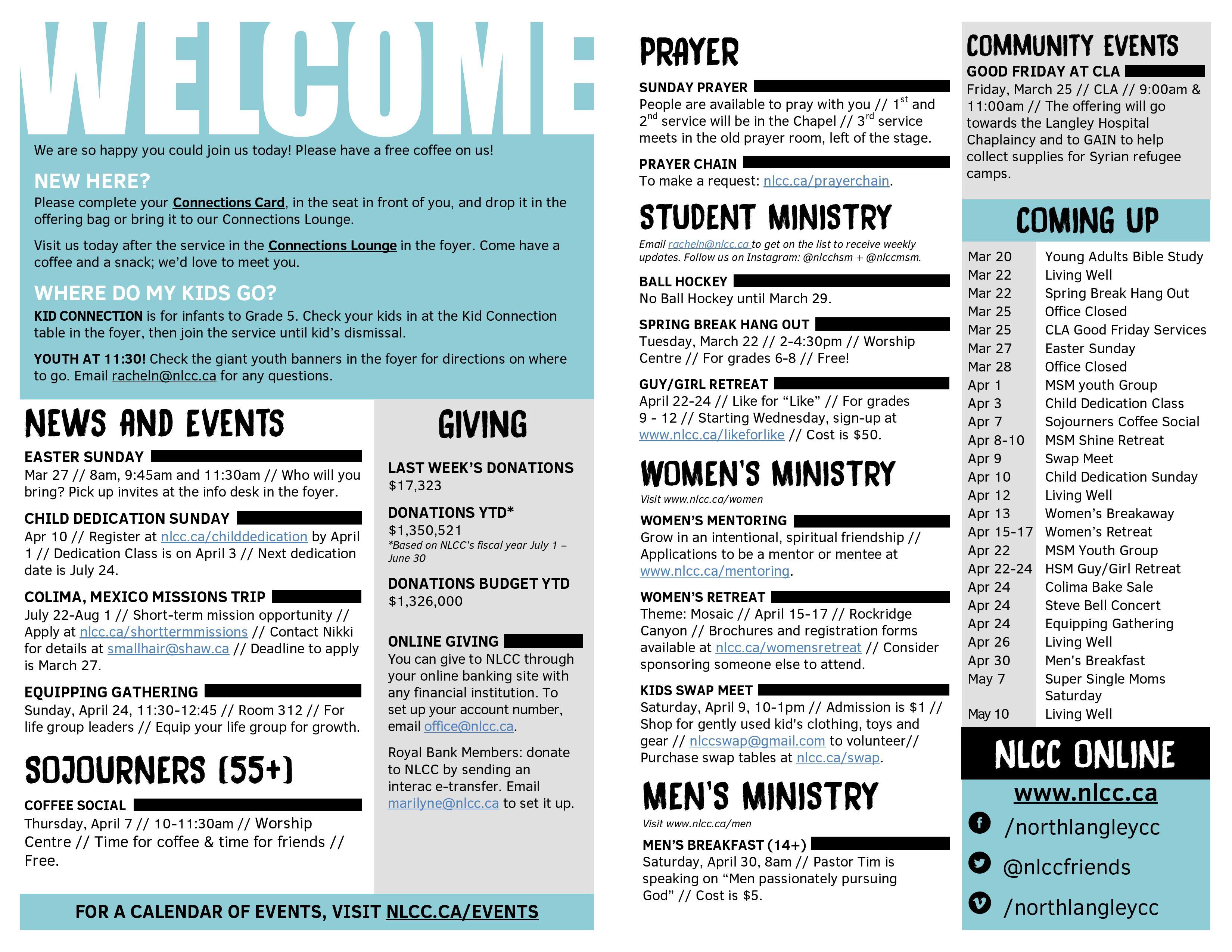 North langley community church bc canada church bulletin ideas for How to make a church bulletin