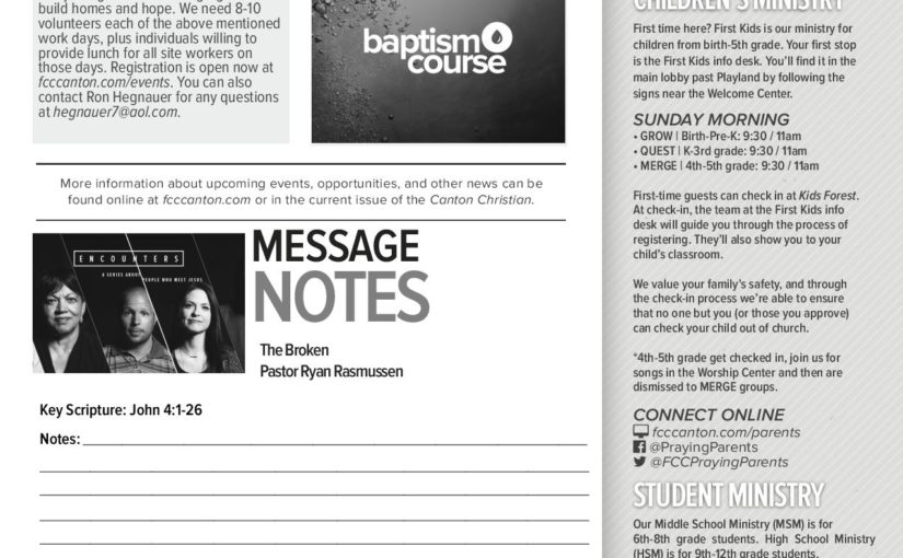 First Christian Church Canton Oh Church Bulletin Ideas